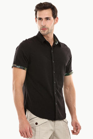 Men's Jet Black Casual Knit Shirt