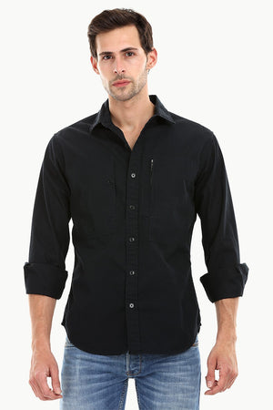 Men's Jet Black Casual Twill Shirt