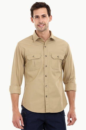 Men's Khaki Casual Twill Shirt