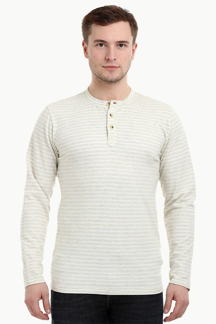 Men's Knit Beige Stripe Henley Sweatshirt