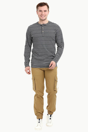 Men's Knit Navy /Grey Stripe Henley Sweatshirt