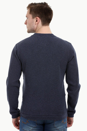 Men's Knit Navy V-Neck Sweatshirt