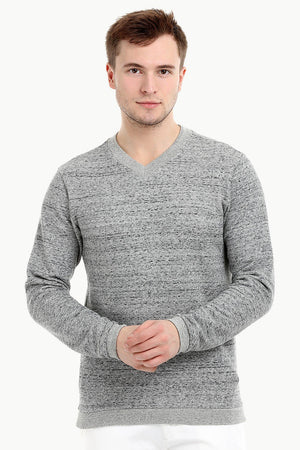 Men's Knit Sports Grey V-Neck Sweatshirt