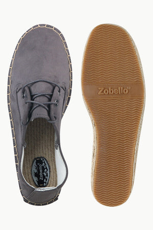 Men's Metro Grey Suede Lace Up Espadrilles