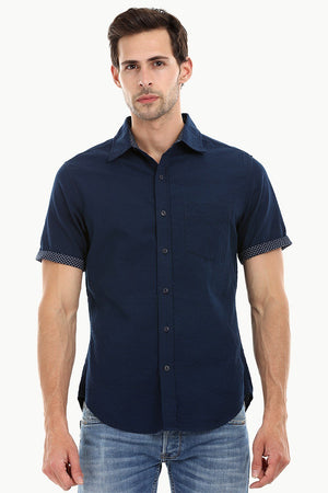 Men's Navy Casual Knit Shirt