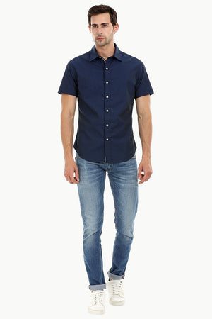 Men's Navy Ditsy Printed Shirt