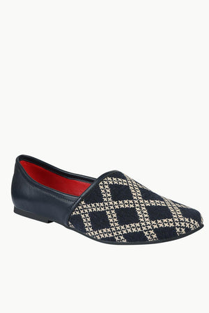 Men's Navy Jacquard Slip-On Juttis