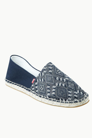 Men's Navy n' White Ethnic Print Espadrilles