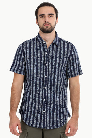 Men's Navy Tribal Print Knit Shirt