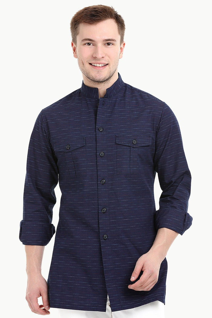 Men's Nehru Collar Short Indigo Ikat Kurta