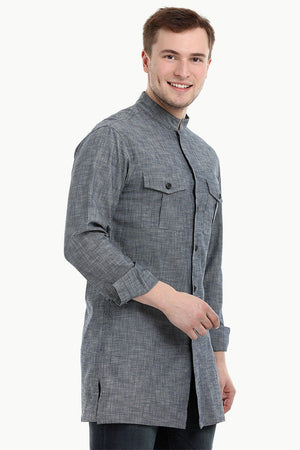 Men's Nehru Collar Short Denim Kurta
