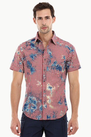 Men's Red Gingham Dyed Shirt