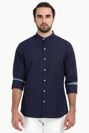 Men's Slub Navy Mandarin Shirt