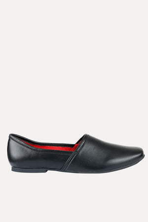 Men's Solid Black Faux Leather Juttis