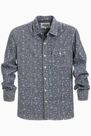Men's Tribal Printed Denim Shirt