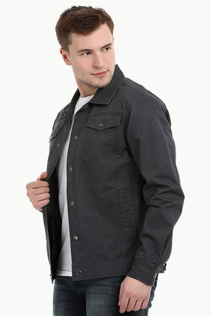 Men's Umber Brown Snap Button Closure Twill Jacket