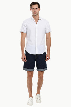 Men's White Casual Seersucker Shirt