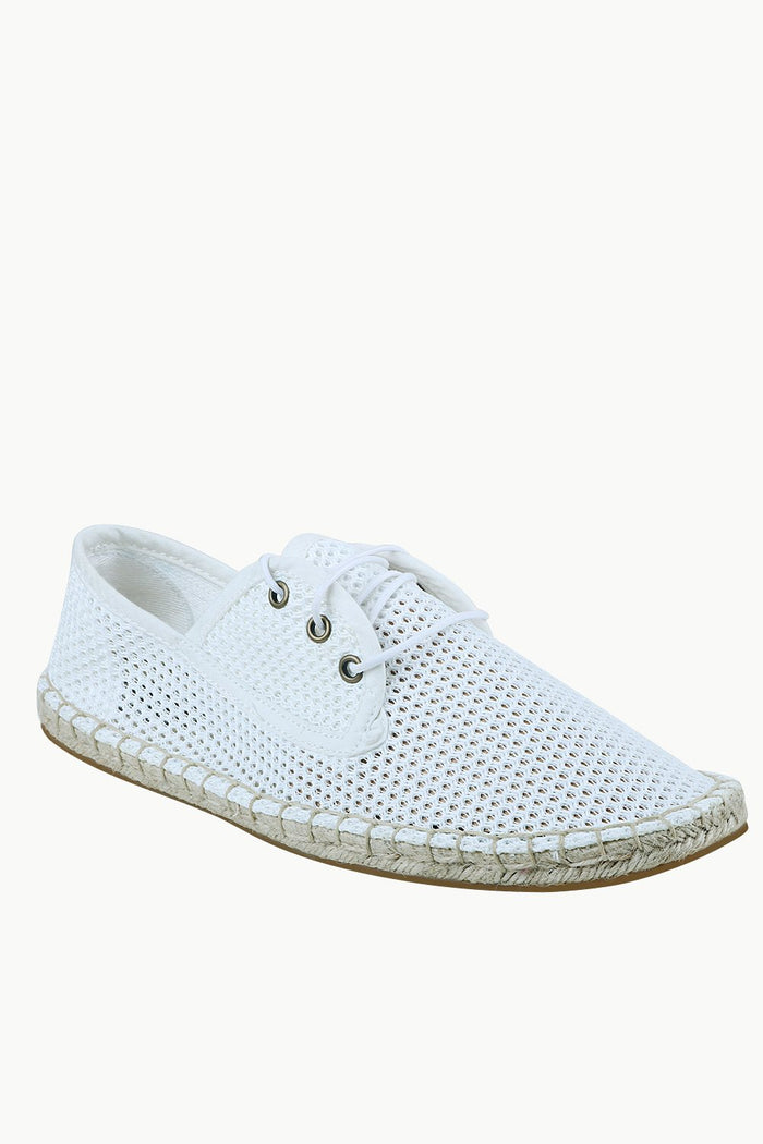 Men's White Mesh Lace-Up Basque Espadrilles