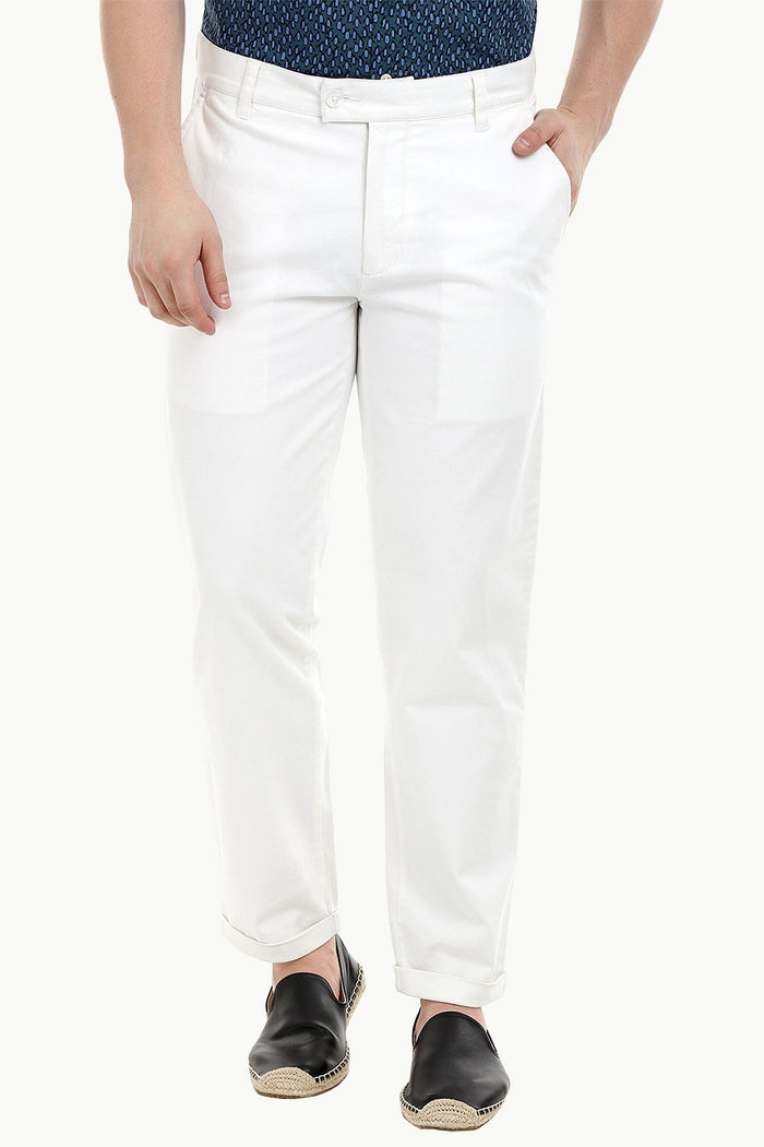 Men'S White Stretchable Straight Twill Pants