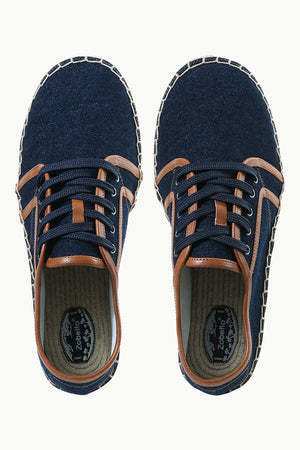 Mens Leather Detailed Denim Espadrilles
