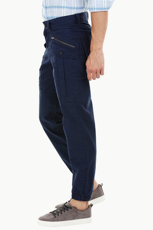 Mens Navy Cuff Jogger Cargo Pants
