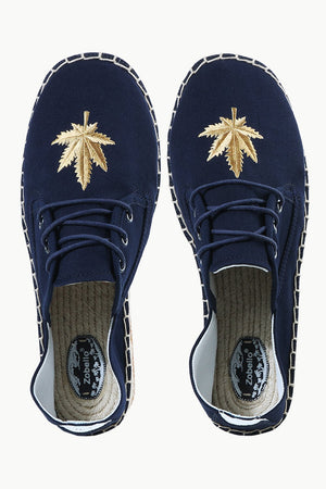 Mens Navy Leaf Embroidered Espadrilles