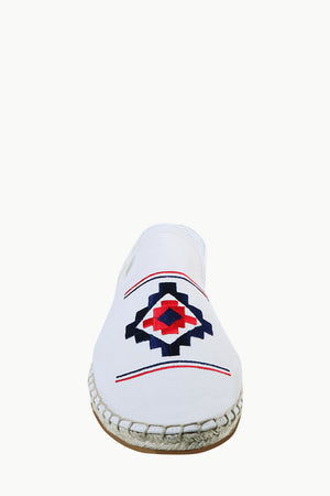 Mens Oatmeal Aztec Embroidered Espadrilles