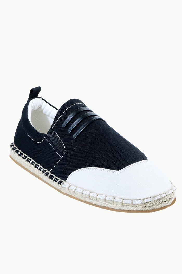 Mens Padded Leather Stripes Espadrilles