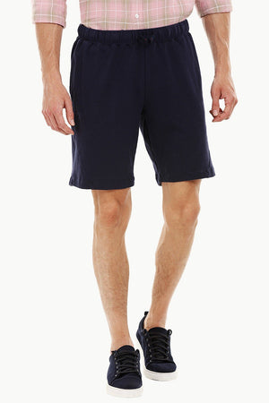 Mens Pique Knit Navy Workout Shorts