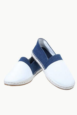 Mens White Cut N Sew Denim Espadrilles