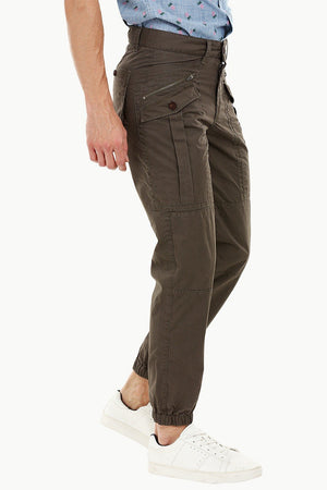 Mens Wood Brown Cuff Jogger Cargo Pants