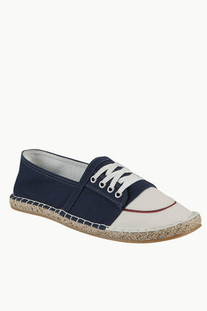 Mock Lace Up Navy Espadrilles