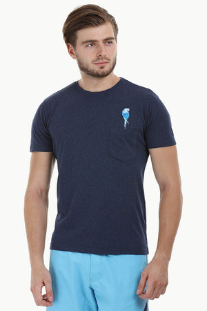 Navy Parrot Embroidered T-Shirt