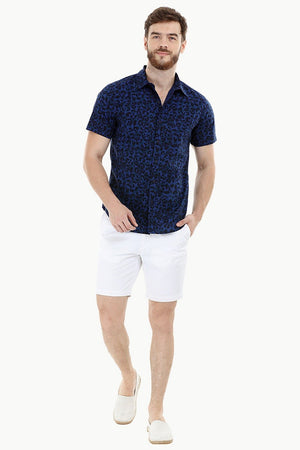 Navy Printed Holiday Shirt
