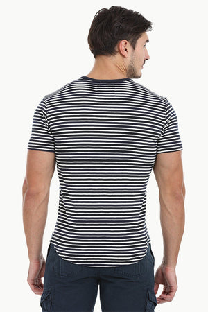 Striped Henley With Oval Bottom