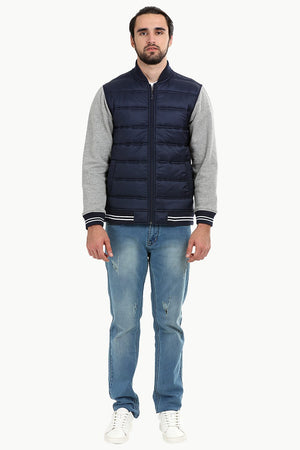 Padded Knit Sleeve Navy Zipper Jacket