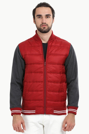 Padded Knit Sleeve Red Zipper Jacket