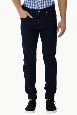 Multi-Panel Denim Cuff Joggers