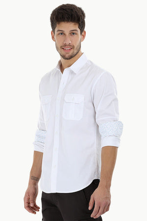 Solid Shirt with Pleated Pockets