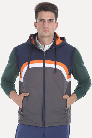 Padded Poly Sleeveless Hooded Jacket