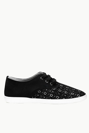 Print Block Lace Up Plimsolls