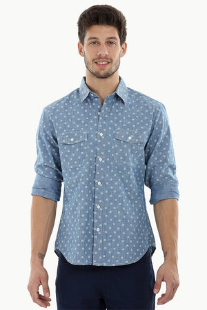 Printed Cotton Indigo Denim Shirt