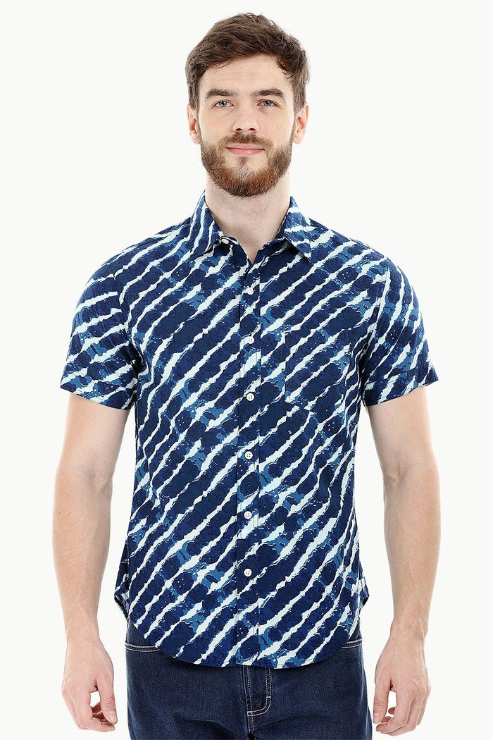 Printed Navy Holiday Summer Shirt