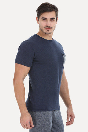 Solid Cotton Tee With Faux Leather Pocket