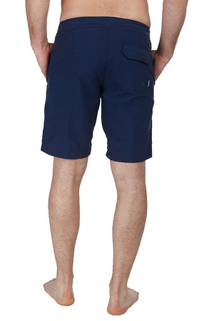 Solid Nylon Swim Shorts With White Zipper