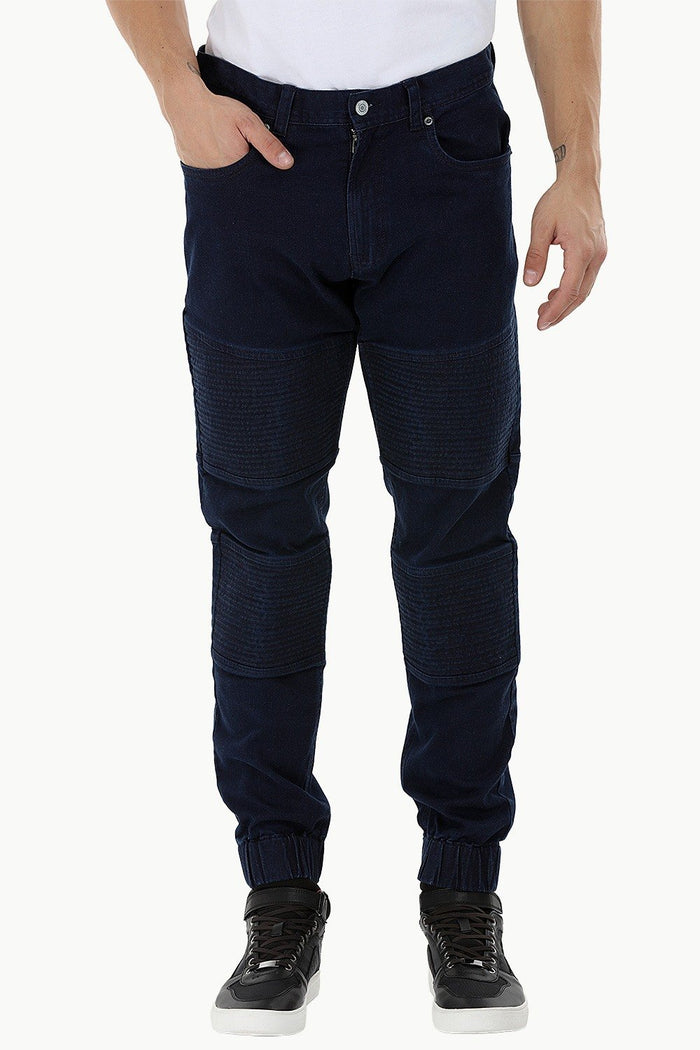 Quilted Panel Denim Jogger Pants