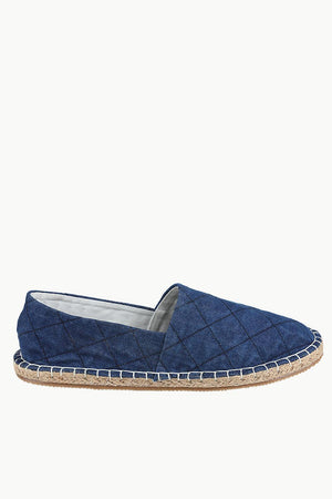 Quilted Pattern Indigo Denim Espadrilles