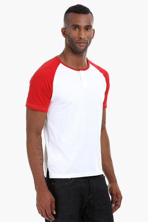 Raglan Henley Cotton T-Shirt
