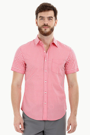 Red Gingham Check Summer Shirt