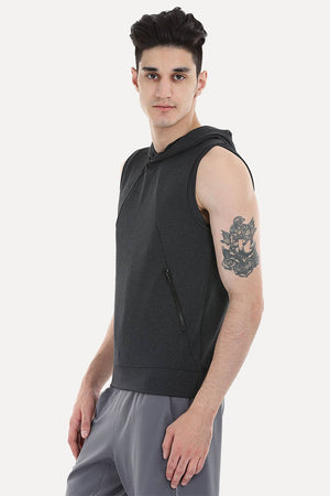 Stretch Cotton Poly Blend Sleeveless Performance Wear Hoodie